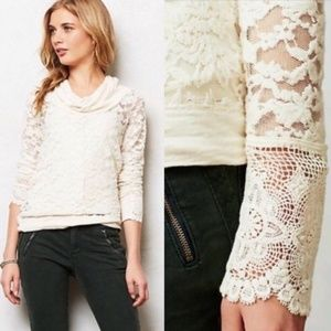 Anthropologie Lilka Sheer Lace Cowl Neck Top
